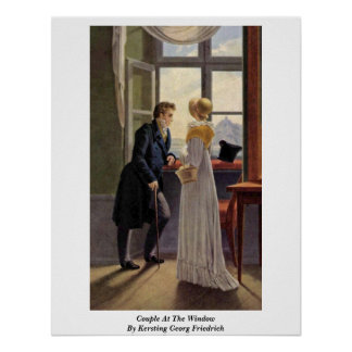Kerstingゲオルグフリートリッヒ著窓のカップル ポスター