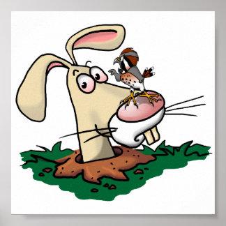 Kestrelおよびウサギ ポスター