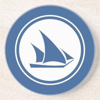 Ketchの青いヨットの航海のな砂岩コースター コースター
