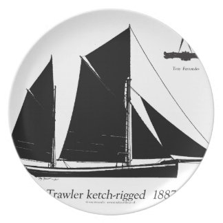ketch装備される1887年のトロール船-贅沢なfernandes プレート