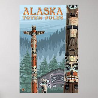 Ketchikanのアラスカ- Saxmanのトーテムの村 ポスター