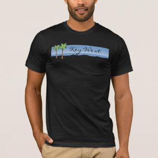Key Westのカスタムな単語の写実的なヤシの木のビーチ Tシャツ