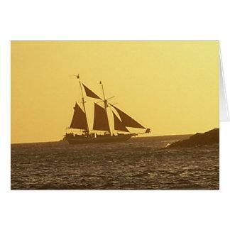 Key Westのクリッパー船の海の日没の挨拶状 カード