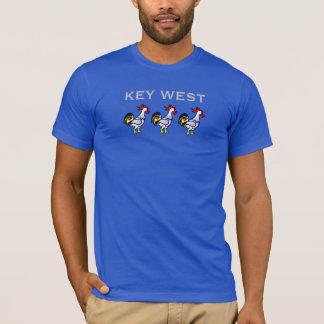 Key Westのビーチのオンドリのおもしろいな漫画動物 Tシャツ