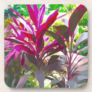 Key Westのピンクの赤い植物 コースター
