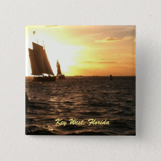 Key Westの日没Pin 5.1cm 正方形バッジ