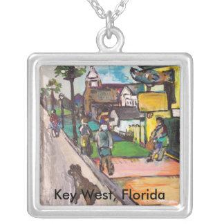 Key Westの絵画 シルバープレートネックレス