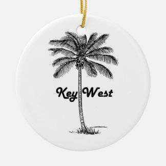 Key Westフロリダ及びやし白黒デザイン セラミックオーナメント