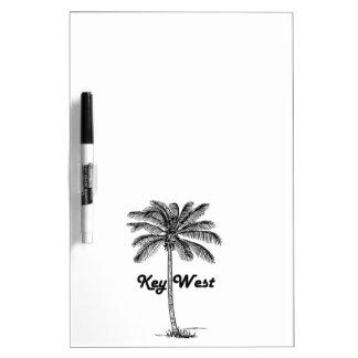 Key Westフロリダ及びやし白黒デザイン ホワイトボード