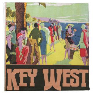 Key Westフロリダ旅行ヴィンテージのアートワーク ナプキンクロス
