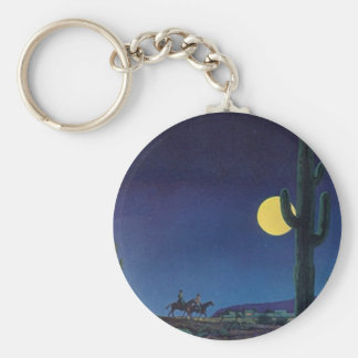 KEYCHAINのサグアロのサボテンの満月の乗車の月光 ベーシック丸型缶キーホルダー
