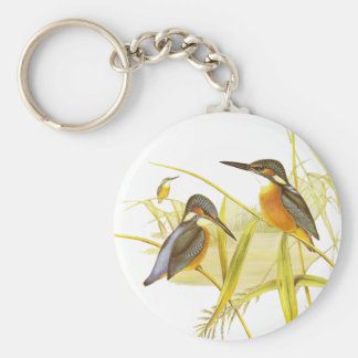 Keychainのヴィンテージのカワセミの鳥 ベーシック丸型缶キーホルダー