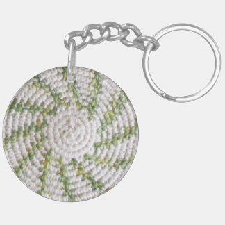 Keychainの(アクリル) -白いおよび緑の螺線形(v.2) キーホルダー