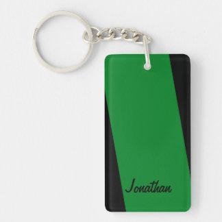 Keychainは、長方形の倍ストライプ緑の味方しました キーホルダー
