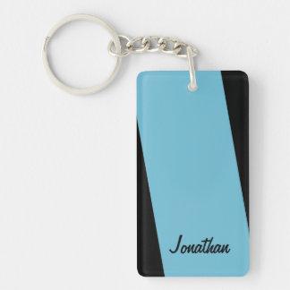 Keychainは、長方形の2淡いブルーおよび黒い味方しました キーホルダー