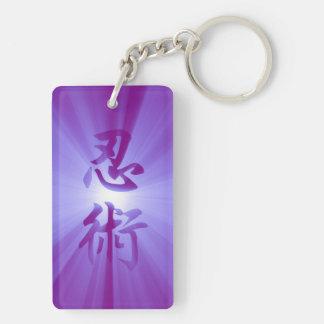 Keychain紫色NINJUTSUの漢字の星の破烈 キーホルダー