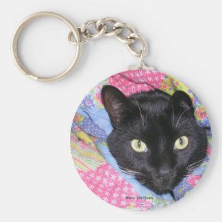 Keychain: 毛布で包まれたなおもしろいな猫 キーホルダー