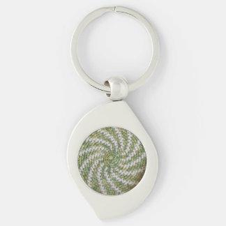 Keychain (金属) -緑の白い螺線形 キーホルダー
