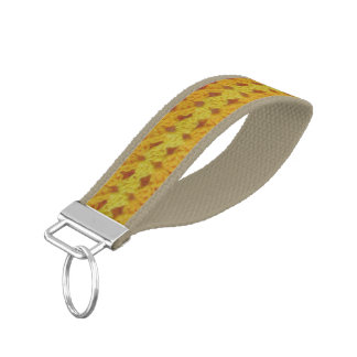 Keychain (Wrst) -黄色いかぎ針編みの陰 リストバンドキーホルダー