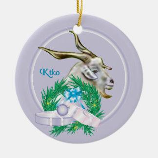 Kikoのヤギのリースの休日のオーナメント セラミックオーナメント