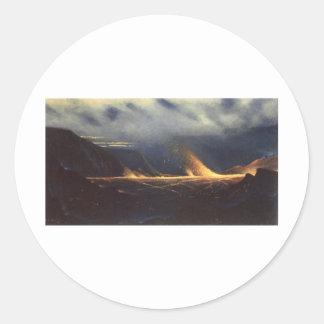 「Kilauea」、キャンバスの絵画の油 ラウンドシール
