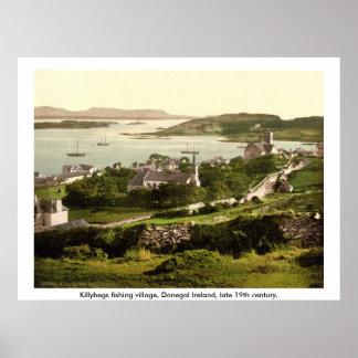 Killybegsの村、ヴィンテージドニゴールアイルランド ポスター
