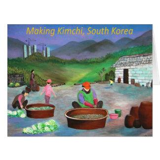 Kimchiの김치を作っている韓国家族 カード