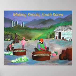 Kimchiの김치を作っている韓国家族 ポスター