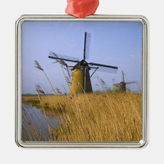 Kinderdijkの運河に沿う風車、2 メタルオーナメント