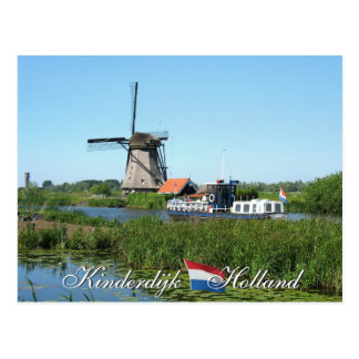 Kinderdijkの風車およびボートのオランダの郵便はがき ポストカード