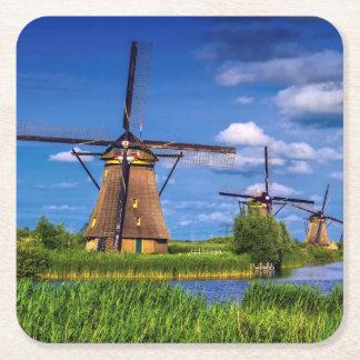 Kinderdijk、オランダのオランダの風車 スクエアペーパーコースター