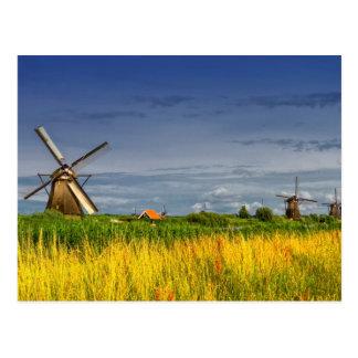 Kinderdijk、オランダのオランダの風車 ポストカード
