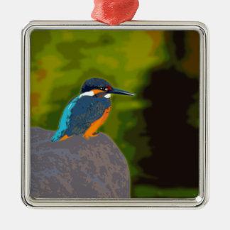 kingfisher シルバーカラー正方形オーナメント