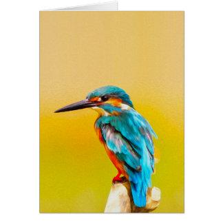 Kingfisher Bird Watercolor Portrait カード