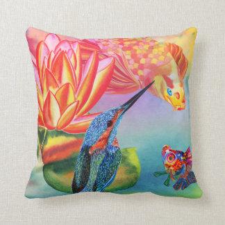 Kingfisher&Goldfishの二重味方された装飾的な枕 クッション