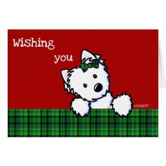 KiniArt Westieの女の子のクリスマスカード カード