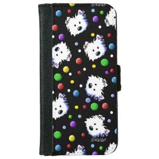 KiniArt Westieの水玉模様 iPhone 6/6s ウォレットケース