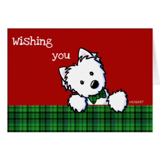 KiniArt Westieの男の子のクリスマスカード カード