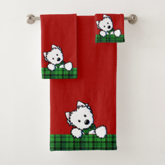 KiniArt Westieの男の子のクリスマス バスタオルセット