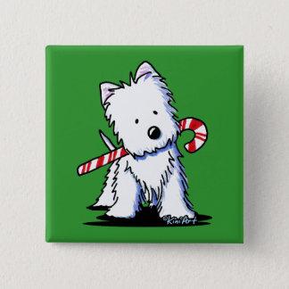 KiniArt Westie Candy Cane Cutie Pin 5.1cm 正方形バッジ