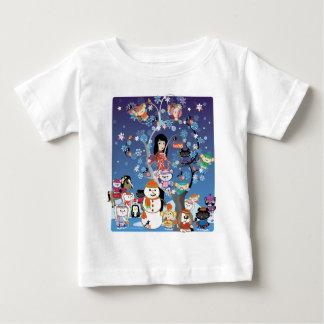 Kitsuの冬のコラージュの白い幼児Tシャツ ベビーTシャツ