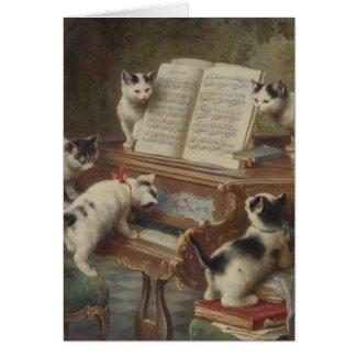 子猫とピアノ グリーティング・カード
