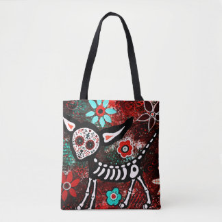 kitty sugar skull all over print tote トートバッグ