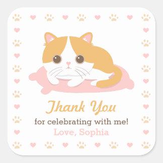 Kityかわいい猫は誕生会のステッカー感謝していしています スクエアシール