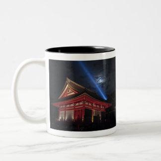 Kiyomizu-Dera上の満月 ツートーンマグカップ