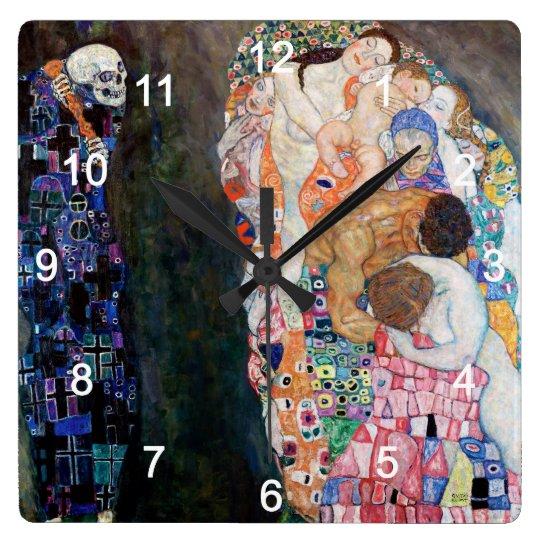 Klimtの『死と生』の壁掛け時計,No.01 スクエア壁時計