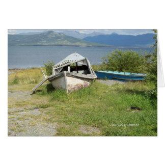 Kluane湖のBurwashの着陸の難破させられたボート カード