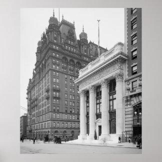 Knickerbockerの信頼の建物及びWaldorf Astoria ポスター