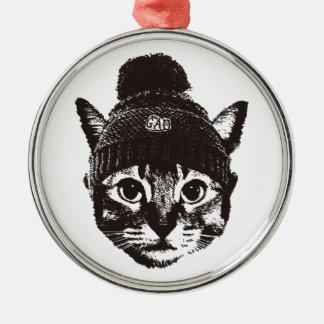 Knitcap cat シルバーカラー丸型オーナメント