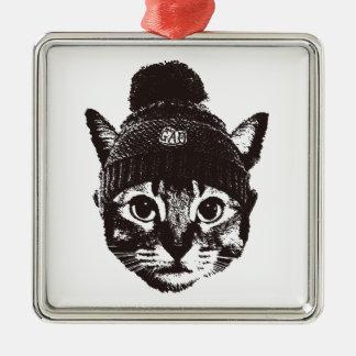 Knitcap cat シルバーカラー正方形オーナメント